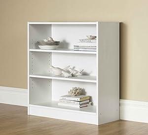 Mainstay.. 3-Shelf Bookcase - Wide Bookshelf Storage Wood Furniture, 1 Fixed Shelf 2 Adjustable Shelves Bookcase (White)