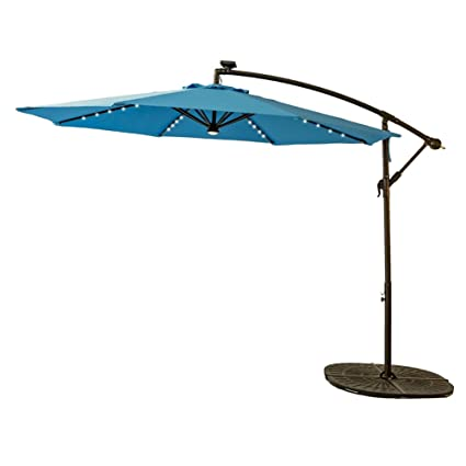 Ordinaire FLAMEu0026SHADE 10 Feet Offset Outdoor Cantilever Umbrella, LED Solar Light  Hanging Patio Umbrella With Cross
