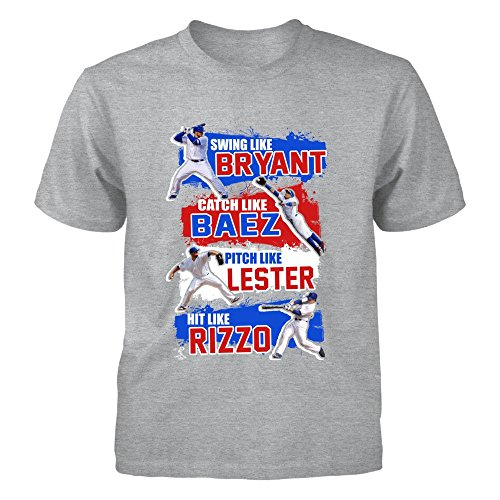 FanPrint Kris Bryant T-Shirt - Swing, Catch, Pitch, and Hit Like The Chicago'S Best - Youth Tee/Grey/L ()