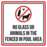 No Glass Or Animals In The Fenced In Pool Area Spa Warning Sign, Metal - 9x9