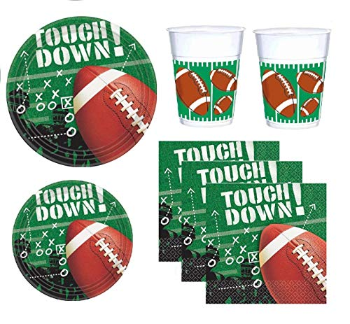 Football Party Supply Pack for 25 Guests Including Dinner Plates, Appetizer or Dessert Plates, Napkins and Cups
