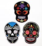 Nipitshop Patches Set 3 Black Skull Fantasy Patch Black Skull Sunflower Eye Skull Day of The Dead Tattoo Embroidered Applique Iron-on patc Clothes Costume or Gift