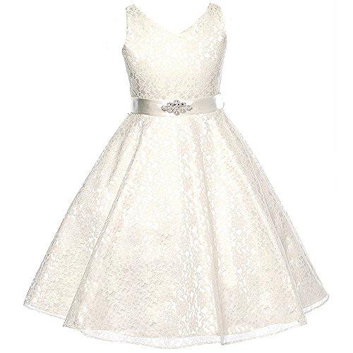 Big Girls Fabulous Full Lace V-Neck Dress Rhinestone Brooch Ivory - Size 8