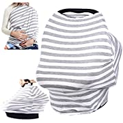 Chalier Nursing Breastfeeding Cover Scarf - Baby Car Seat Canopy - Soft Carseat Canopy Cover - Shopping Cart, Stroller, Carseat Covers - Multi Use Infinity Stretchy Shawl (Gray & White Stripes)