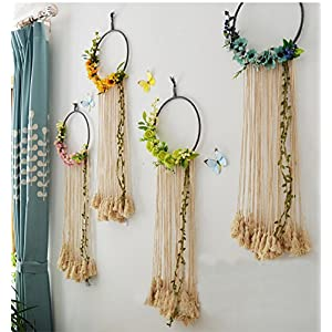 "RISEON Handmade 32"" Long Large Tassel Dream Catcher Wall Hanging Decoration Macrame Fringe Floral Flower Wreath Dreamcatcher Boho Home Decor Ornament Gift 23"