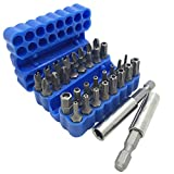 34 Pcs Screwdriver Bit Set with Magnetic Extension Bit Holder, FineGood Security Anti-Tamper SAE Metric Hex Tri-Wing Torq Spanner Star Bit - Blue