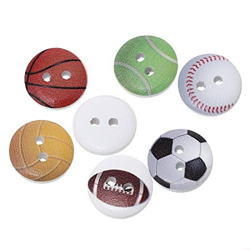 Souarts Random Color Footbal Basketball Soccer Pattern Printed 2 Holes (Soccer Ball Button)