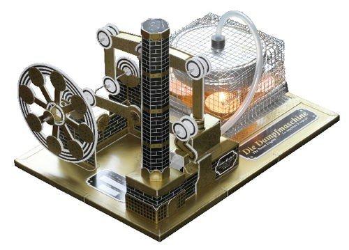 Dampfmaschine Bausatz aus Karton gold bedruckt mit Anleitung