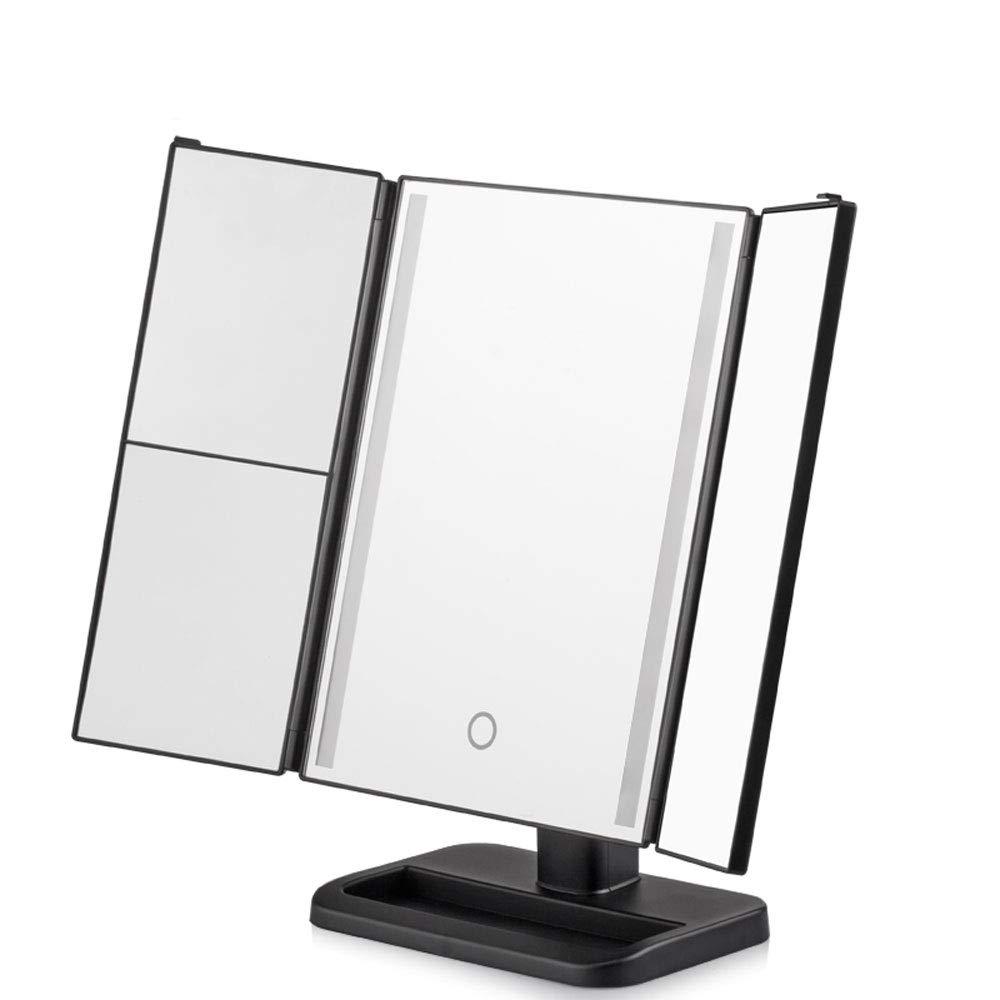 WSC Specchio per Trucco LED Specchio per Lampada da Tavolo Quadrato Specchio per Principessa Carino Grande Specchio per Trucco di Bellezza Specchio per riempimento Specchio (Color : Black) WSC Mirro