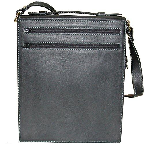 Bolso bandolera de hombre negro en piel vacuno de alta calidad, textura fina y muy suave!