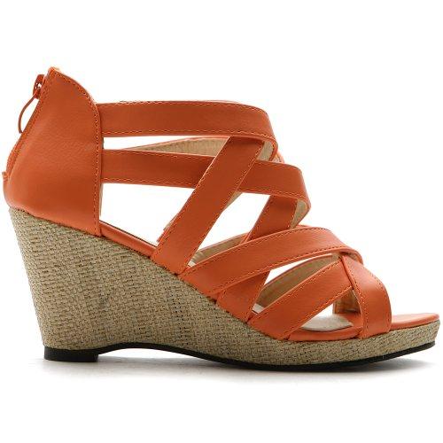 Ollio Women's Shoe Gladiator Open Toe Wedge High Heel Multi Color Mesh Sandal(6 B(M) US, Orange)