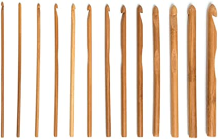 12Pcs 15cm Bamboo Handle Crochet Hooks Knit Craft Knitting Needle Weave Yarn Set