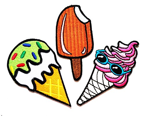Nipitshop Patches Set of 3 Orange lemon fruit ice-cream Fantasy Ice Cream Cone Glasses Cartoon kid Iron On Appliques Embroidered Patch for Clothes Costume or (Fantasy Costumes Australia)