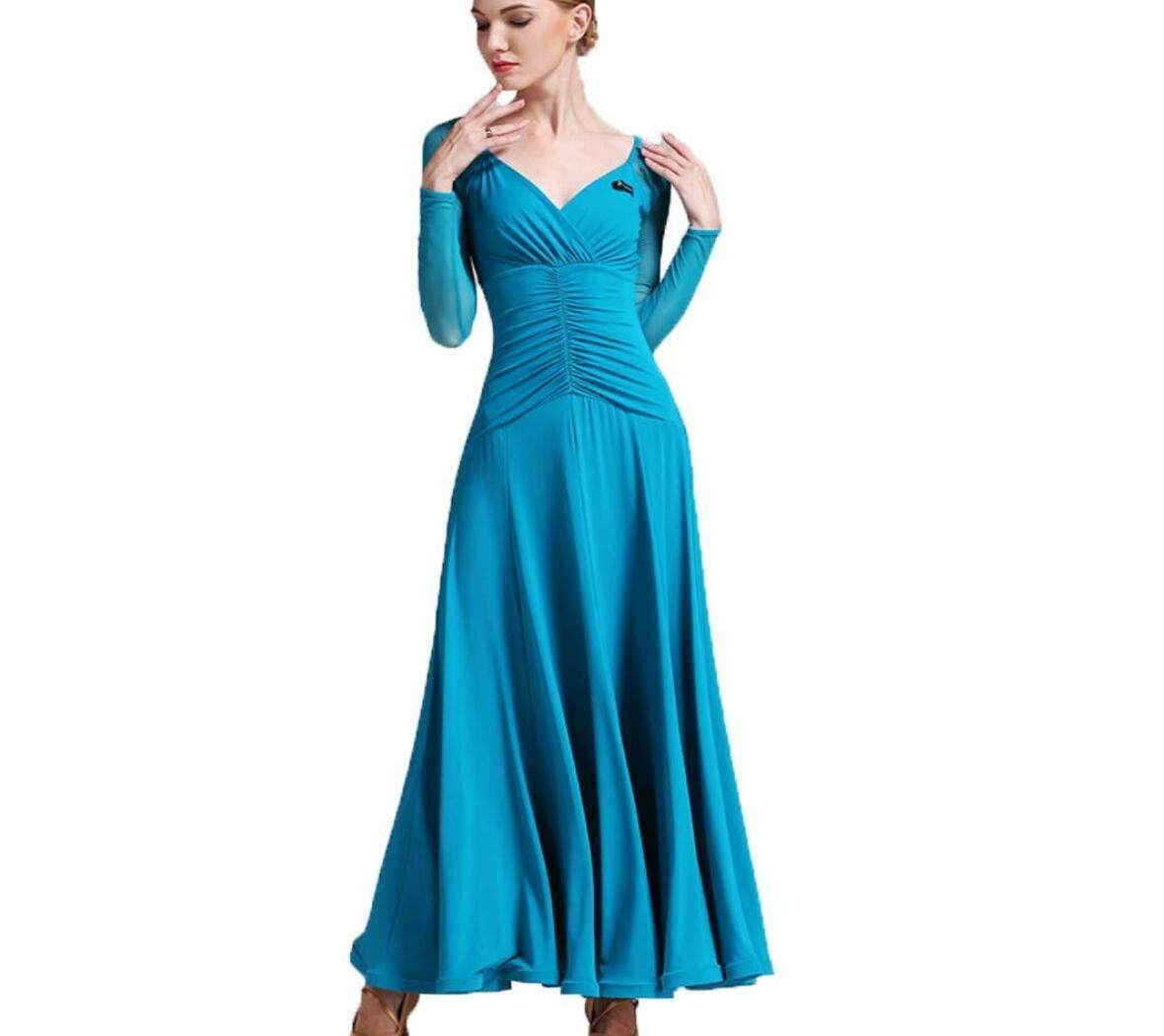 B XL ZYLL Norme Nationale Danse de Salon pour Femmes Compétition VêteHommests de Danse Moderne Valse Tango Danse Costume Perforhommece Grand Swing