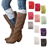 Mai Poetry Womens Stretch Lace Boot Leg Cuffs Soft Laced Boot Socks (12 pair)