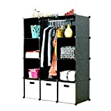 UNICOO Multi Use DIY Plastic 12 Cube Organizer, Bookcase, Storage Cabinet, Wardrobe Closet Black with White Door (Deeper Cube -New)
