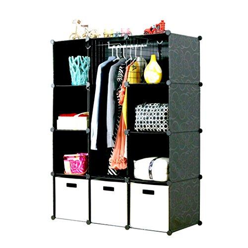 UNICOO - Multi Use DIY 12 Cube Organizer, Bookcase, Toy Organizer, Wardrobe Closet, Storage Cabinet (Black-Deeper Cube)