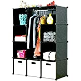 UNICOO - Multi Use DIY Plastic 12 Cube Organizer, Bookcase, Storage Cabinet, Wardrobe Closet Black with White Door (Deeper Cube -New)