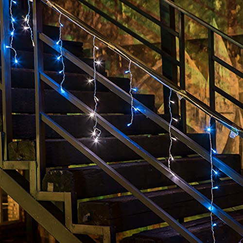 Blue Led Icicle Xmas Lights in US - 2