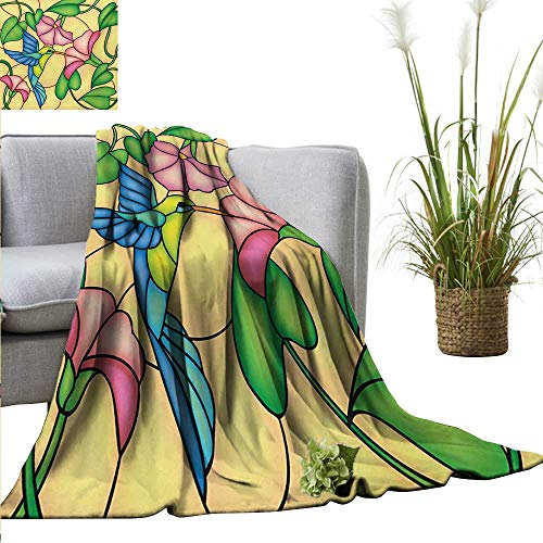 - AndyTours Summer Blanket,Hummingbird,Stained Glass Style Bird and Hibiscus Tropical Flora and Fauna Illustration,Multicolor,300GSM, Super Soft and Warm, Durable 60