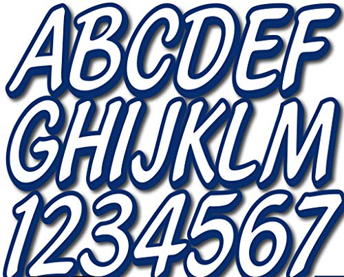 "Stiffie Whipline Solid White/Navy 3"" Alpha-Numeric Registration Identification Numbers Stickers Decals for Boats & Personal Watercraft"