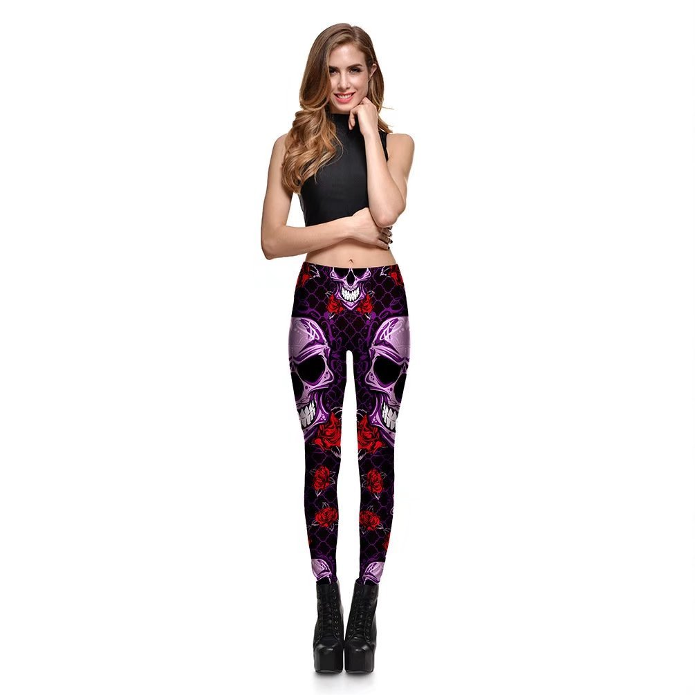 8c144ff722e Amazon.com  Hoyou Funky Print Skull Leggings For Women LuLaRoe Tribal Sexy  Smooth Crazy Patterned Pants Slimming Girls by  Clothing