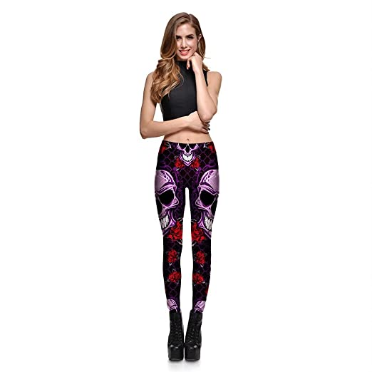 5529faad8560b Amazon.com: Hoyou Funky Print Skull Leggings For Women LuLaRoe Tribal Sexy  Smooth Crazy Patterned Pants Slimming Girls by: Clothing
