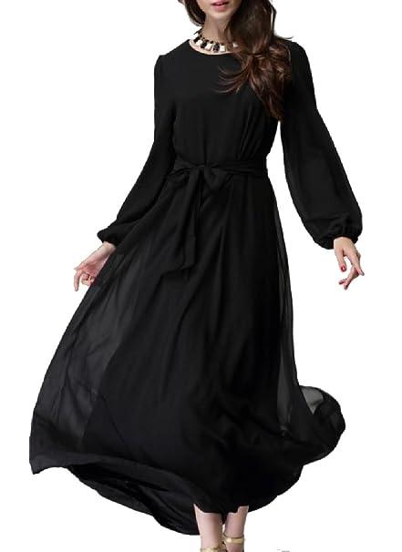 XiaoShop Women Chiffon Islamic Long-Sleeve Plus Size Tuxedo Dress at ...