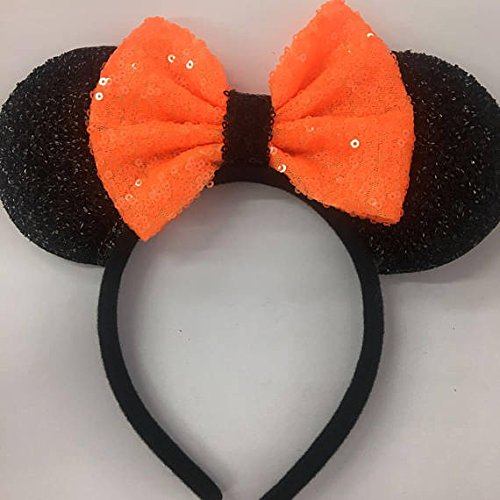 CLGIFT Halloween Orange Mickey Ears, Halloween Orange Minnie Ears, Mickey Ears, Halloween Disney Ears,one size fits all