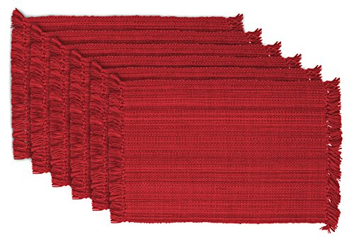 DII 100% Cotton, Tonal Fringe, Variegated, Machine Washable, Everyday Kitchen Basic Placemat, Set of 6, Tango Red - Fringed Placemat