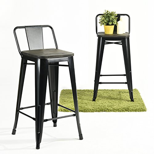 GreenForest 26Inch Counter Barstool Set of 2 Black, Elm Wood Square Seat for Home Bar Furniture and Ergonomic Backrest Metal Black Polished Structure, Modern Industrial Style for Indoors and Outdoors (High Two Metal Polished)