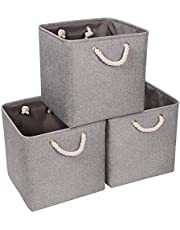 Syeeiex Large Storage Baskets for Organizing 13'' x 13'' x 13'' Cube Fabric Storage Boxes with Handles Foldable cube storage bins with Cotton Rope for Home Closet,Office,Cloth,Grey set of 3.