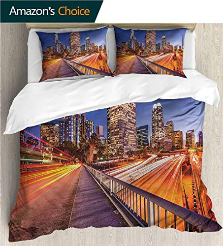 King Duvet Cover Set,Box Stitched,Soft,Breathable,Hypoallergenic,Fade Resistant Bedding Set Cover With 2 Pillow Shams Decorative Quilt Cover Set -Night Los Angeles Usa Downtown (87