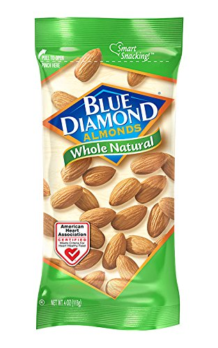 Blue Diamond Almonds, Raw Whole Natural, 4 Ounce (Pack of 12)
