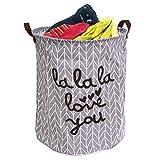 Easy-Tang Large Laundry Hamper Bucket Waterproof Coating Storage Bin Collapsible Washing Basket Home Nursery Toy Organizer (Grey LaLaLa Love You)