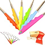 Marshmallow (Marshmello) Roasting Sticks for Fire Pit, Campfire, Bonfire | 6 Extra Long Fork Skewers with Silicone Handles | SMORE, Hot Dog, BBQ, Grilling, Camping Stick | Colorful Skewer for Kids