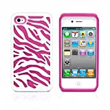 iPhone 4S Case, MagicMobile® Hybrid Armor Ultra Protective Case for iPhone 4 / 4S Cute [Zebra Pattern] Design Hard Plastic + Shockproof Rubber Impact Resistant iPhone 4S Defender Cover - White / Pink