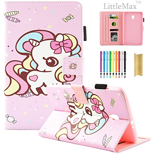 Galaxy Tab A 8.0 2017 Case,LittleMax(TM) Slim Fit Folio Stand Synthetic Leather Protective Cover [Card Slots] for Samsung Galaxy Tab A 8.0 Inch 2017 SM-T380 / SM-T385 Tablet - 03 Bowknot Unicorn