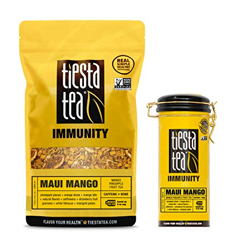 Tiesta Tea Maui Mango Tin & Bulk Bag, Mango Pineapple Fruit Tea, 6 Ounce Tin & 1 Pound Bulk Bag, Caffeine Free, Loose Leaf Herbal Tea Immunity Blend, Non-GMO (Set of 2)