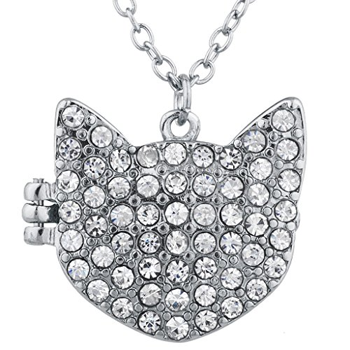 Lux Accessories Silver Tone Crystal Pave Rhinestone Kitty Cat Locket -