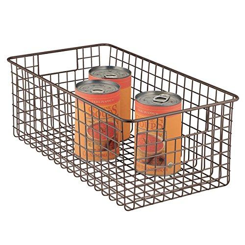 Door Single Deep Wine Cabinet (mDesign Deep Wire Storage Basket for Kitchen, Pantry, Cabinet - Bronze)