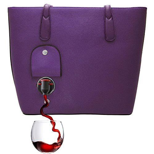 PortoVino Classic Wine Purse (Aubergine) - Fashionable purse with Hidden, Insulated Compartment, Holds 2 bottles of Wine! by PortoVino