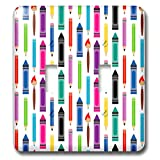 3dRose Alexis Design - Pattern Back To School - Colorful back to school pattern of pencils, markers, brushes - Light Switch Covers - double toggle switch (lsp_292901_2)
