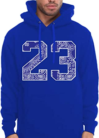 CaliDesign Mens Royal Blue Bandana 23 Hoodie Urban Wear Pullover Sweatshirt