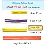 MOF X Rubber Bands X Shaped Rubber Bands H Bands 'MOST Value Set' 20 pcs Rubber X Band in Plastic Case Easy to Use