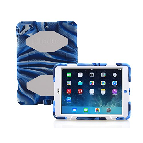 Winpartner iPad Air Military Case Heavy Duty Cover Tough Armor Silicone Rubber Bumper with Stand and Screen Protector