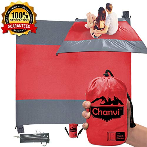 Chanvi Large Beach Blanket Handy Sand Mat- Extra Size 9' x 10' Holds 7 Adults with Strap - Perfect for Picnics, Beaches, RV, Outings, Camping, Hiking and Music Festival(Red)