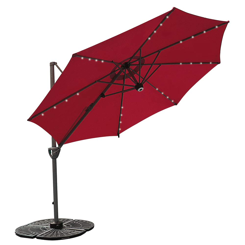 COBANA 10 Ft Solar Powered 32 LED Lighted Offset Patio Umbrella with Blue-Tooth Speaker and 360 Degree Rotation, Dark Red