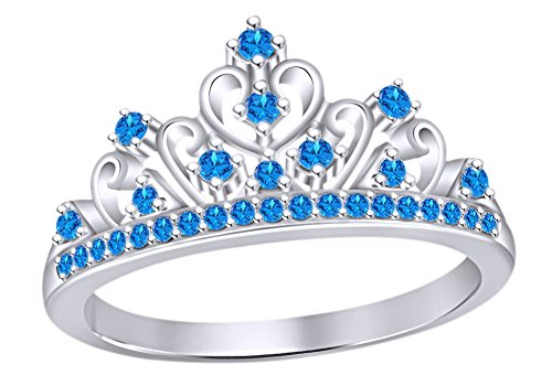 Topaz Crown Ring (AFFY Round Cut Simulated Blue Topaz Princess Crown Ring In 14k White Gold Over Sterling Silver)
