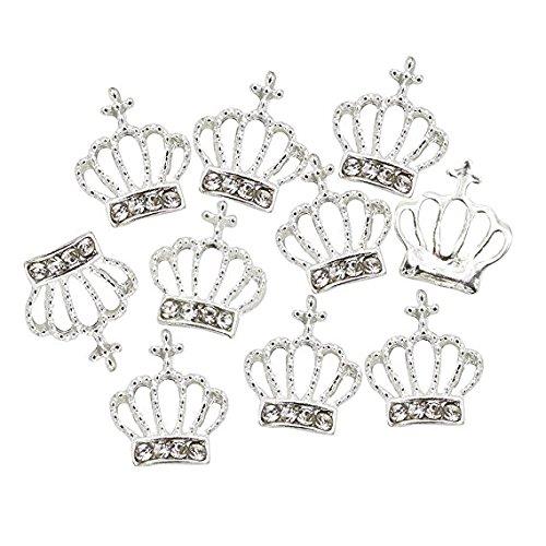 Yter 3D DIY alloy Rhinestones Crown nail art Glitters perline decorazioni fai da te (argento)